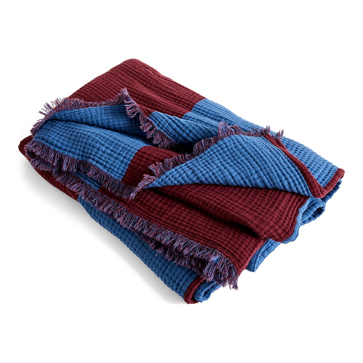 Crinkle Stripe Plaid, 210 x 150 cm, burgundy by Hay