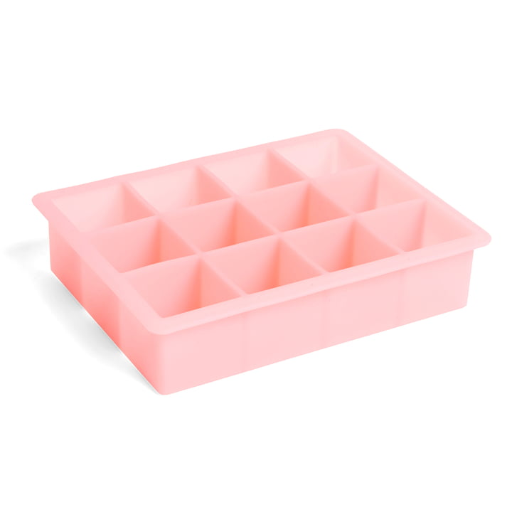 Silicone ice cube maker rectangular XL, pink by Hay