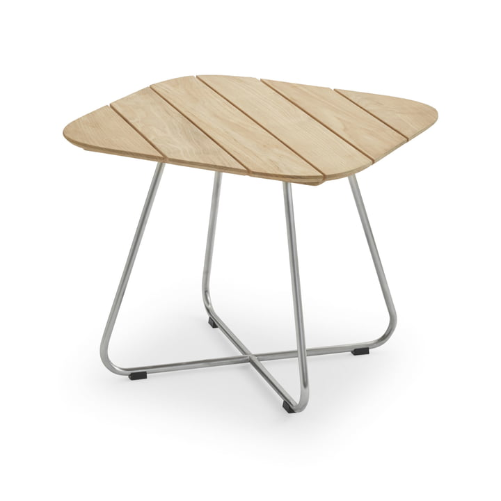 Lilium Lounge Table 60 x 60 cm, teak / stainless steel by Skagerak