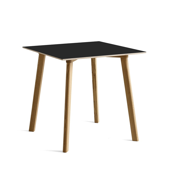 Copenhague CPH Deux 210 dining table 75 x 75 cm from Hay in oak matt lacquered / laminate ink black