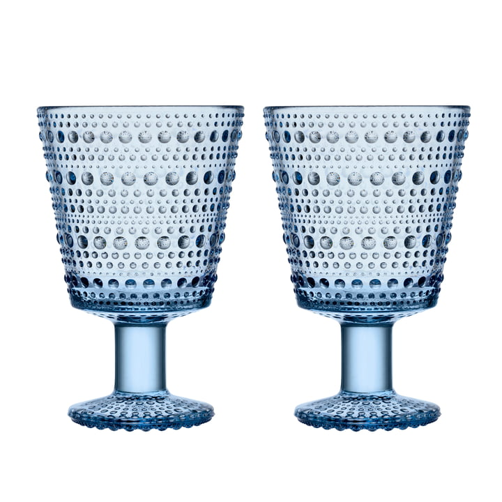 Kastehelmi drinking glass with foot 26 cl from Iittala in aqua (set of 2)