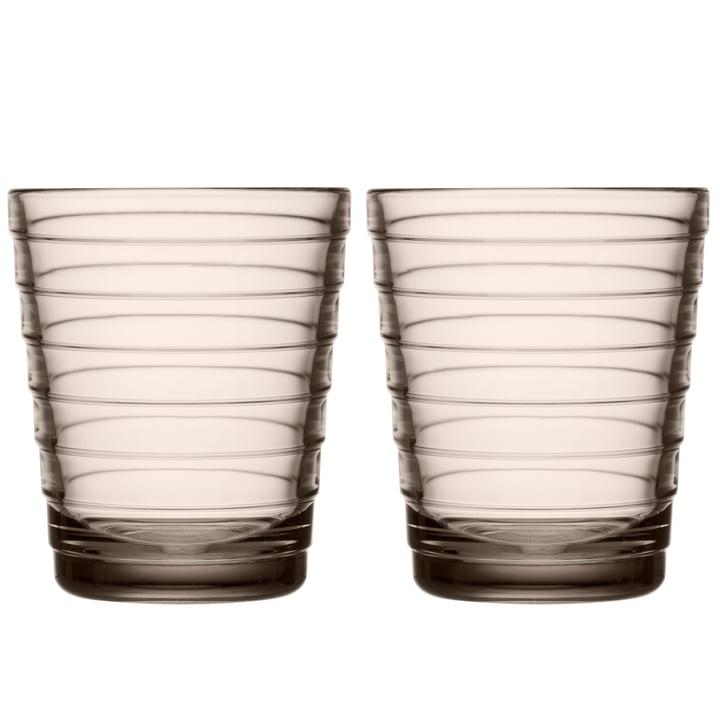 Aino Aalto Glass beaker 22 cl from Iittala in linen (set of 2)