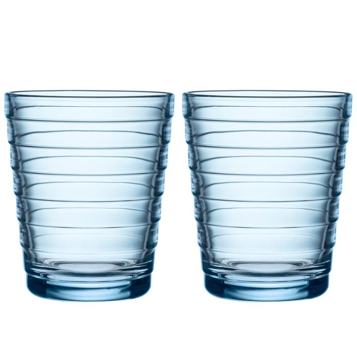 Aino Aalto Glass beaker 22 cl from Iittala in aqua (set of 2)