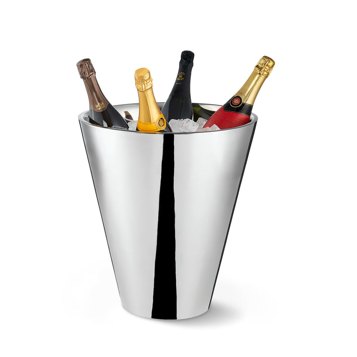 Monte Carlo bottom bottle cooler by Philippi in polished stainless steel