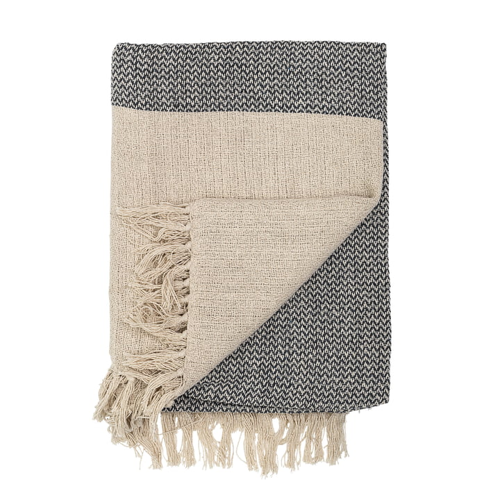 blanket with fringes 160 x 130 cm from Bloomingville in beige