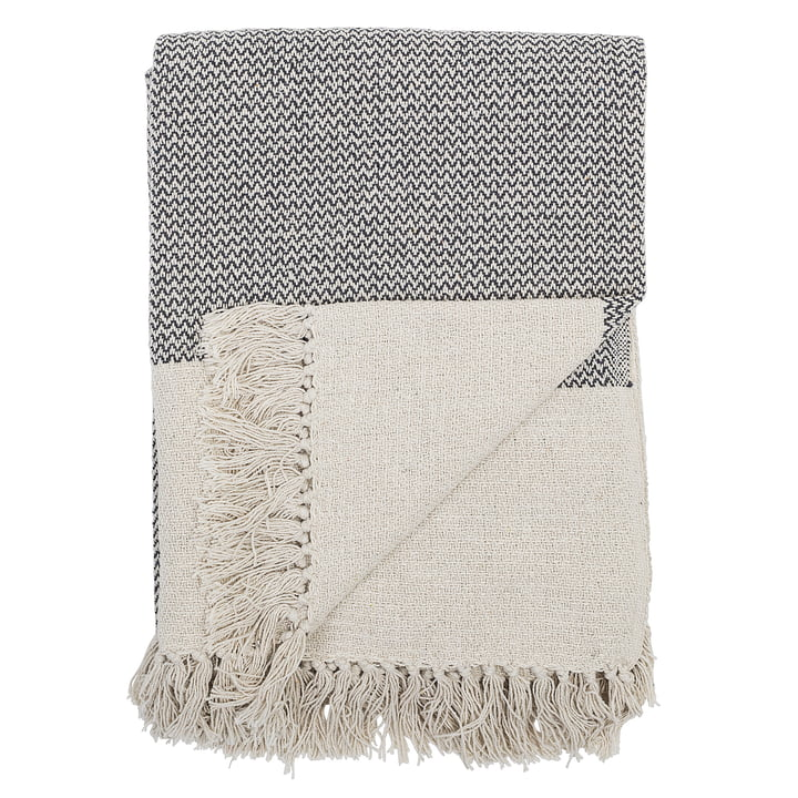blanket with fringes 160 x 130 cm from Bloomingville in grey
