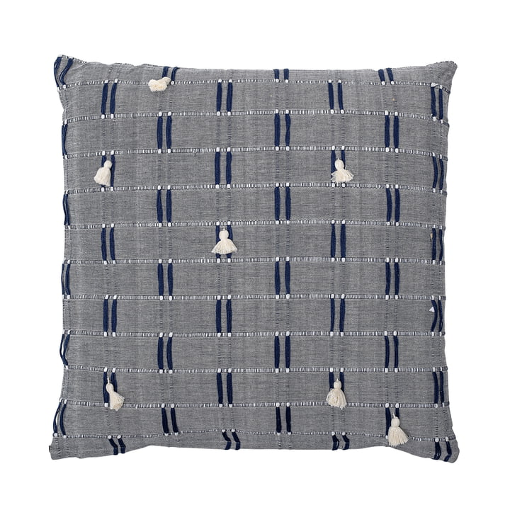 Embroidered cushion with tassels 50 x 50 cm from Bloomingville in blue