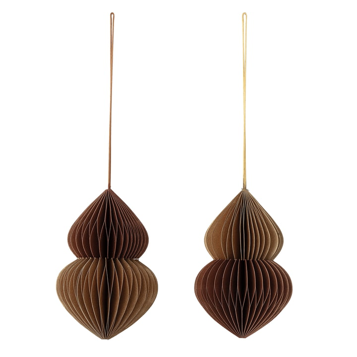 Christmas ornaments set of 2 by Bloomingville in brown