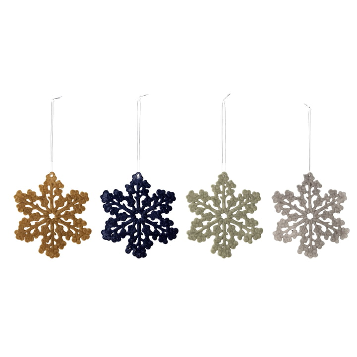 Snowflake ornaments Ø 11.5 cm (set of 4) from Bloomingville in multi-color
