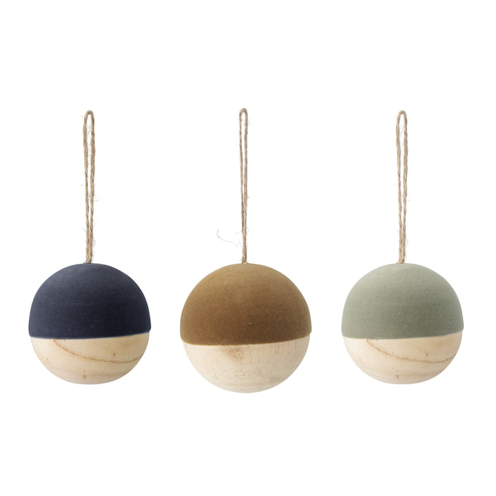 Christmas balls made of theacea wood Ø 7 cm (set of 3) from Bloomingville in multicolor
