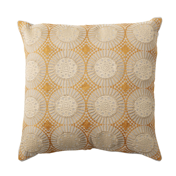 Embroidered cushion with circles 45 x 45 cm from Bloomingville in yellow / beige