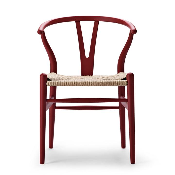 CH24 Wishbone Chair from Carl Hansen in soft red / natural braid