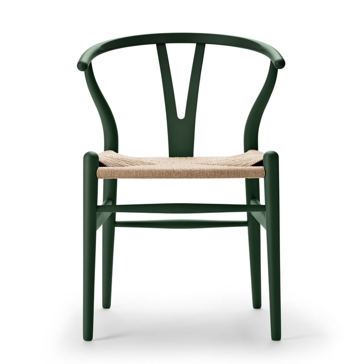CH24 Wishbone Chair from Carl Hansen in soft green / natural braid