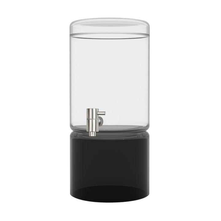 Glass drink dispenser in black 5 litres