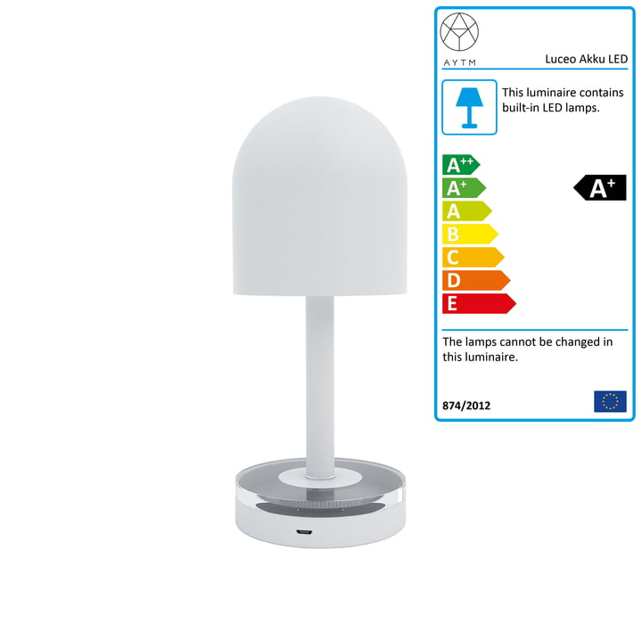 Luceo Battery LED table lamp Ø 9 x H 22 cm from AYTM in white / clear