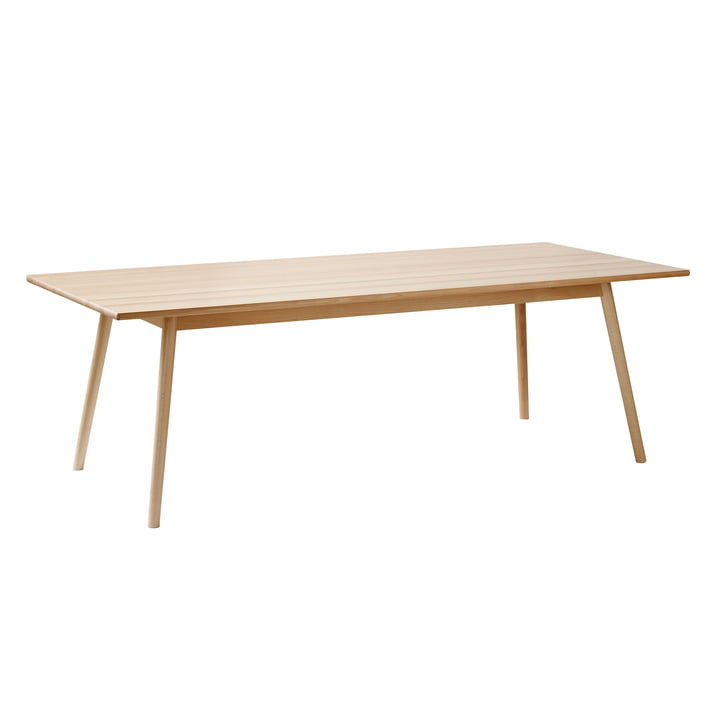 C35C dining table in 95 x 220 cm, white pigmented beech varnished by FDB Møbler in single view