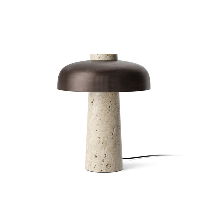Reverse table lamp, Ø 24 x H 30 cm, burnished brass / travertine stone from Menu