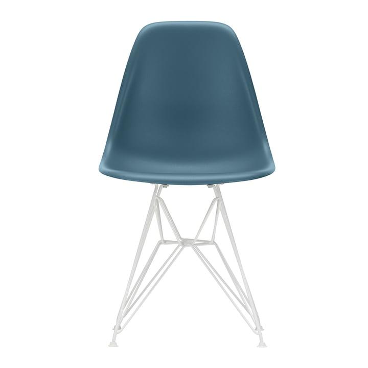 Vitra - Eames Plastic Side Chair DSR, white / sea blue (felt glides white)