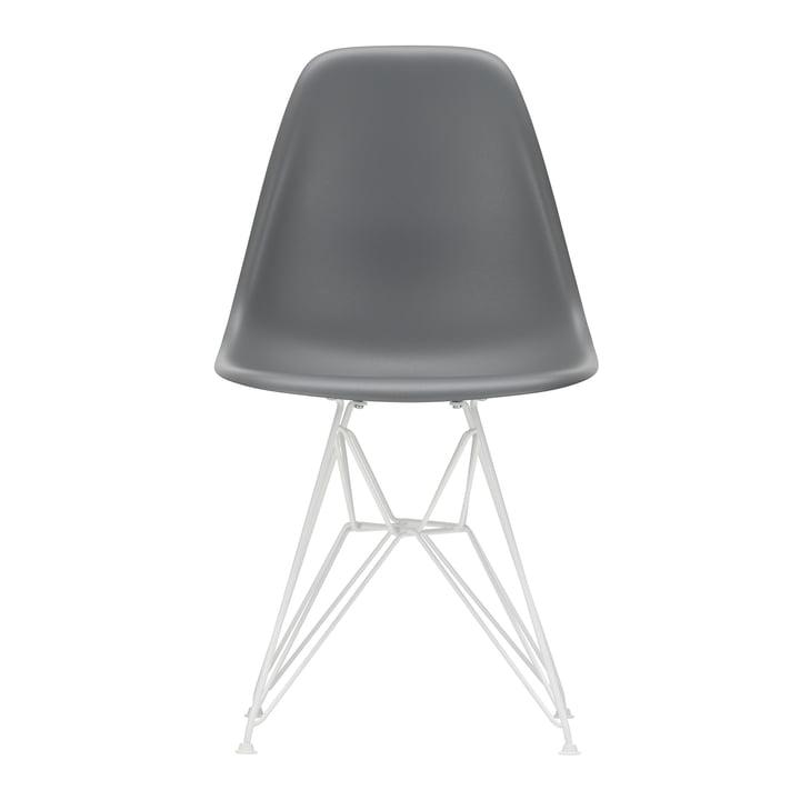 Vitra - Eames Plastic Side Chair DSR, white / granite grey (felt glides white)