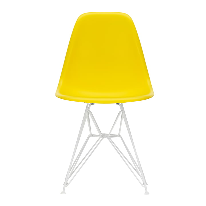 Vitra - Eames Plastic Side Chair DSR, white / sunlight (felt glides white)