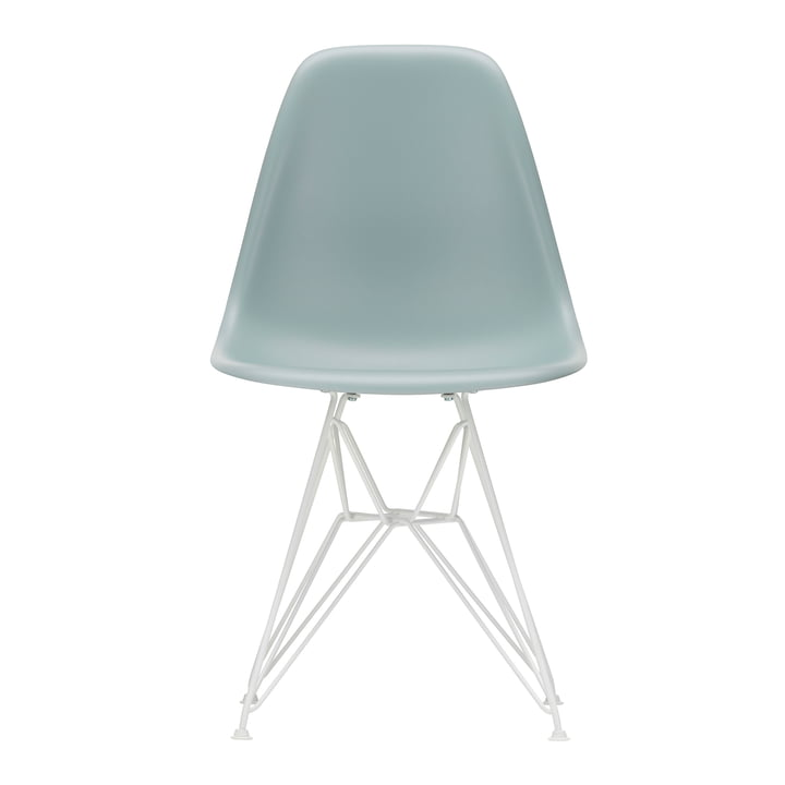 Vitra - Eames Plastic Side Chair DSR, white / ice grey (felt glides white)