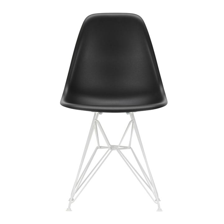 Vitra - Eames Plastic Side Chair DSR, white / deep black (felt glides white)