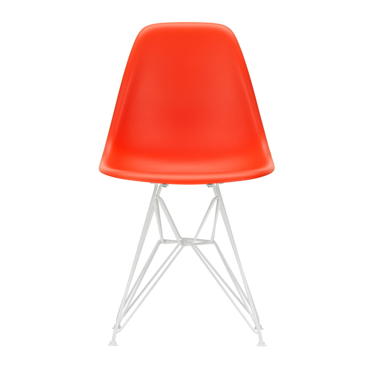 Vitra - Eames Plastic Side Chair DSR, white / poppy red (felt glides white)