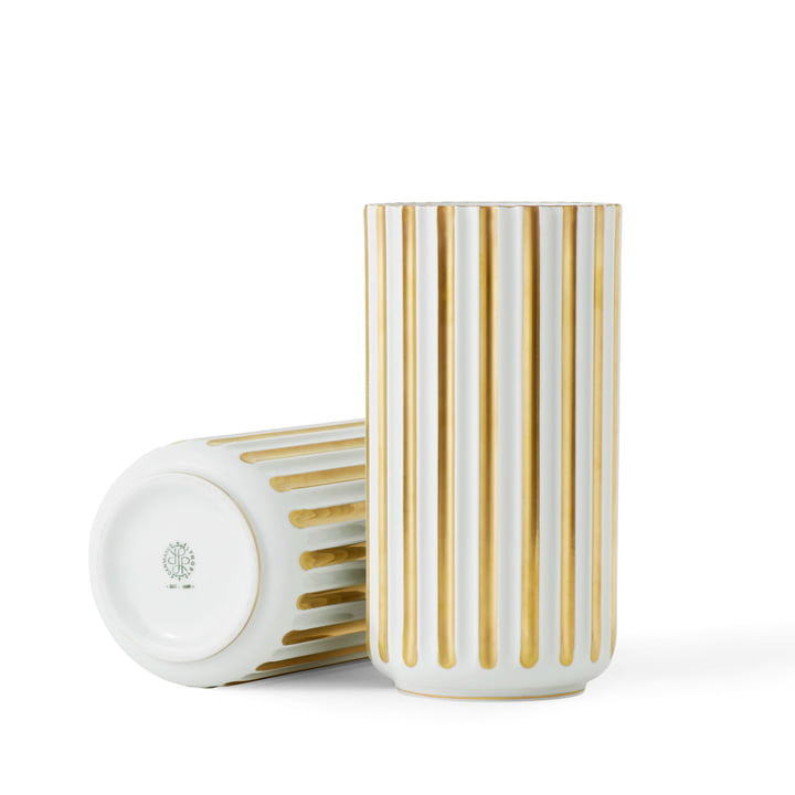 Lyngbyvase H 15,5 cm from Lyngby Porcelæn in white / gold