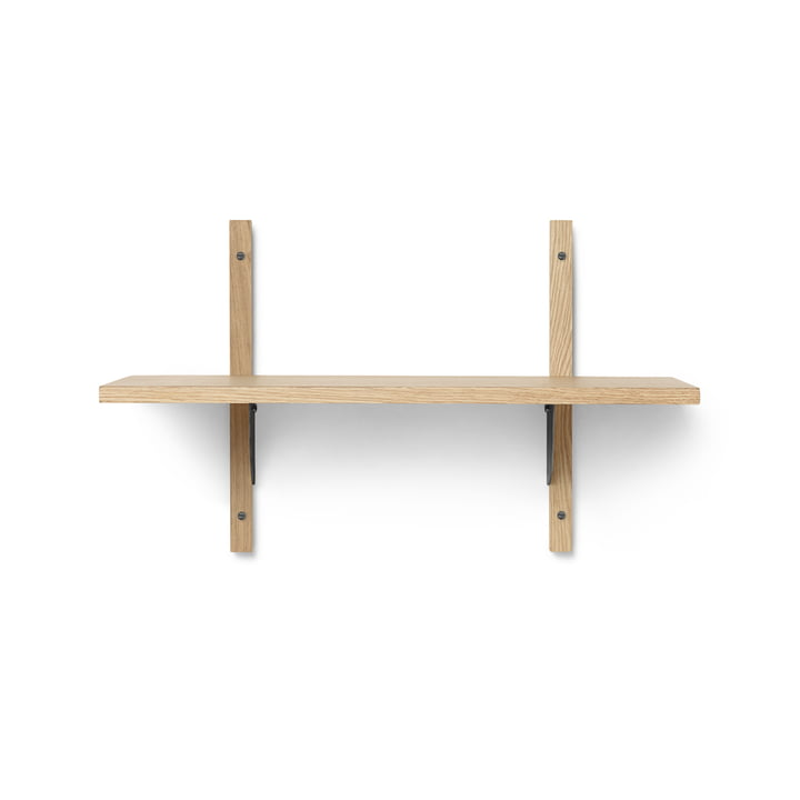 Sector wall shelf single, 54 cm, oak / brass black by ferm Living