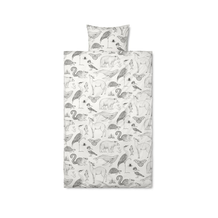 Katie Scott Bed linen Graphic by ferm Living in white / grey
