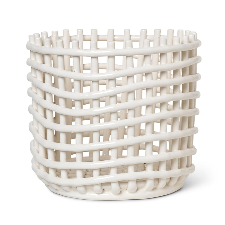 Ceramic basket large by ferm Living in off-white