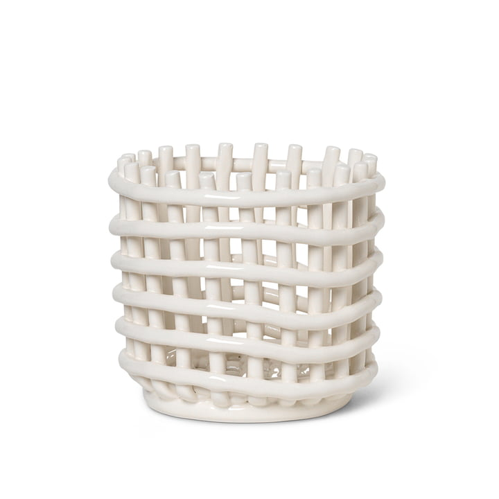 Ceramic basket small from ferm Living in off-white
