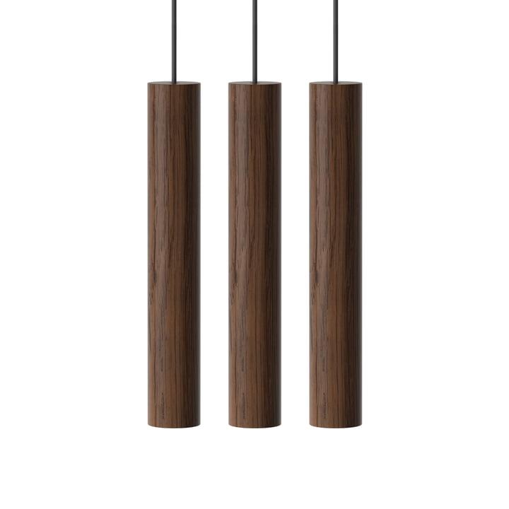 Chimes Cluster 3 LED pendant light, Ø 3 x 22 cm, dark oak from Umage