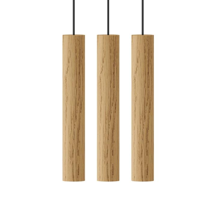 Chimes Cluster 3 LED pendant light, Ø 3 x 22 cm, oak from Umage