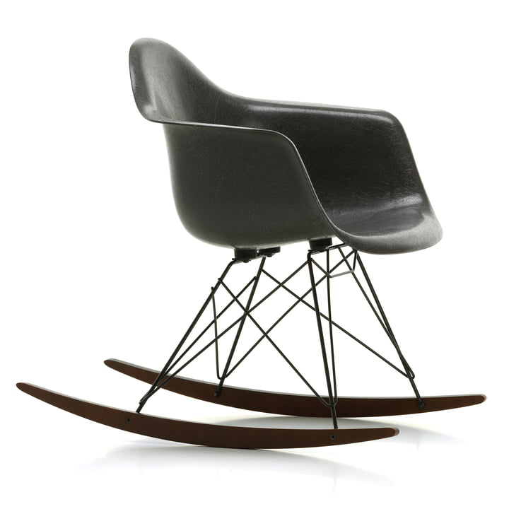 Eames Fiberglass Armchair RAR from Vitra in maple dark / basic dark / Eames elephant hide-grey