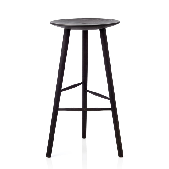 Di Volo bar stool H 75 cm from applicata in beech black stained