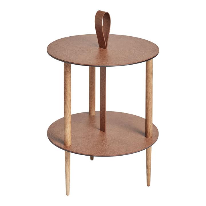 Strap Side table, Ø 38 x H 46 cm, natural oak / natural bull from LindDNA