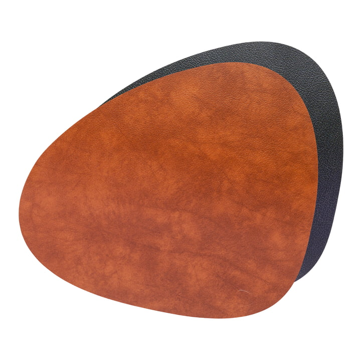 Place mat Curve L Double, Bull cognac / black from LindDNA
