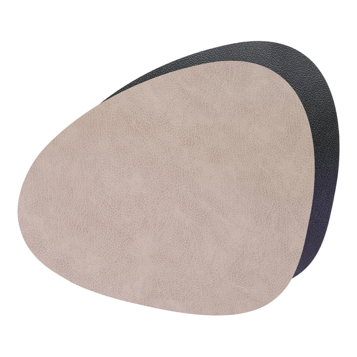 Place mat Curve L Double, Bull warm grey / black by LindDNA