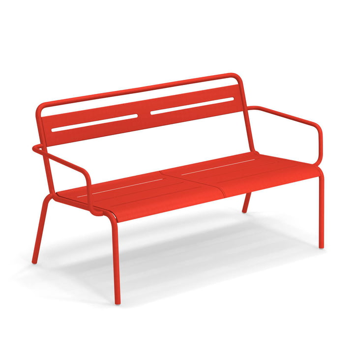 Star Sofa with armrests Emu in scarlet