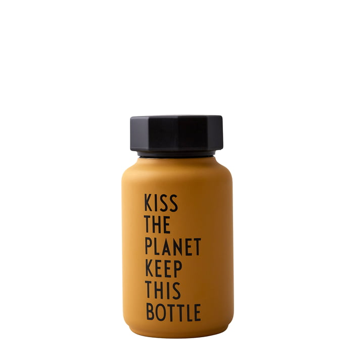 AJ Thermos Bottle Hot & Cold 0.33 l, Kiss The Planet Keep This Bottle / mustard (special edition) by Design Letters