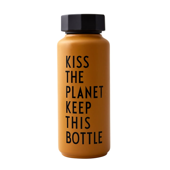 AJ Thermos bottle Hot & Cold 0,5 l, Kiss The Planet Keep This Bottle / mustard (special edition) by Design Letters