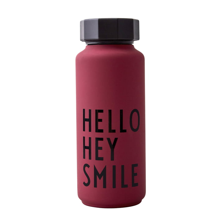 AJ Thermos bottle Hot & Cold 0,5 l, Hello Hey Smile / dark red (special edition) by Design Letters