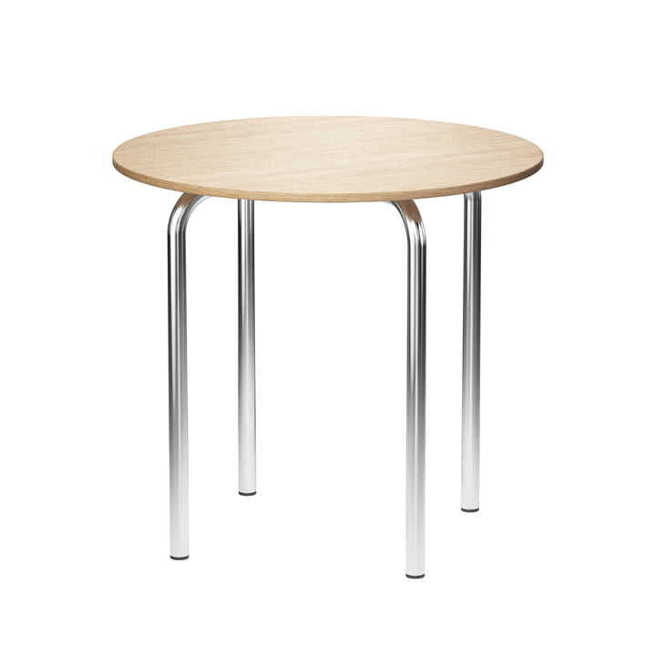 MR 517 Side table Ø 50 x H 46 cm from Thonet in chrome-plated tubular steel / natural oak