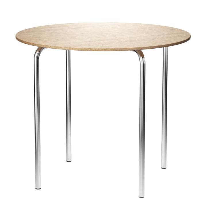 MR 515 Side table, Ø 70 x H 60 cm from Thonet in chrome-plated tubular steel / natural oak