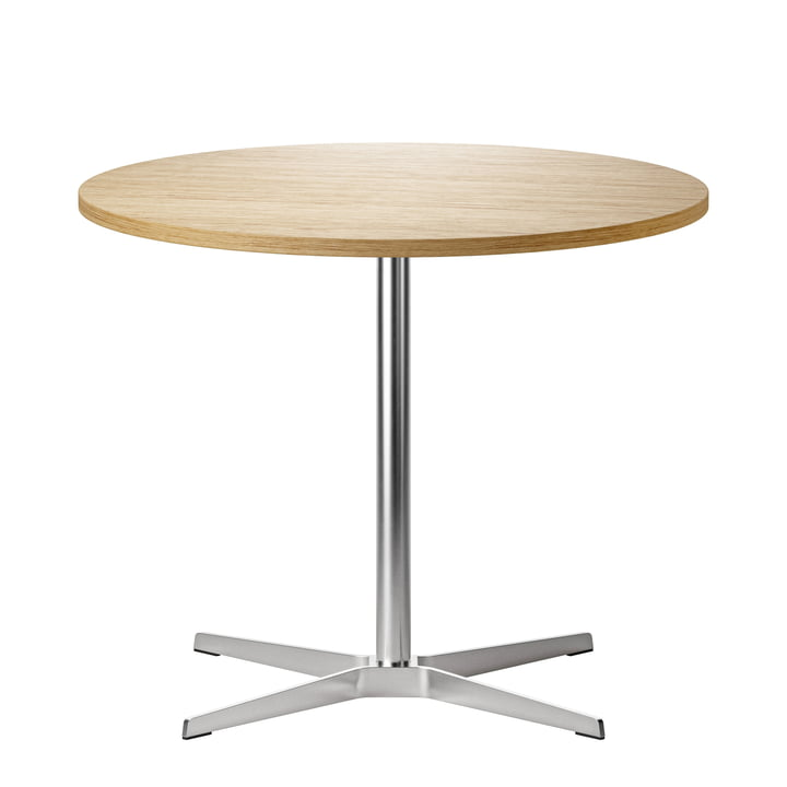 1818 Bistro table Ø 90 cm from Thonet in stainless steel / oak clear varnished