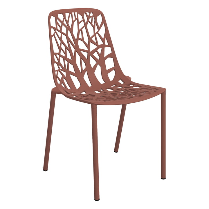 Forest stacking chair (outdoor) by Fast in terracotta