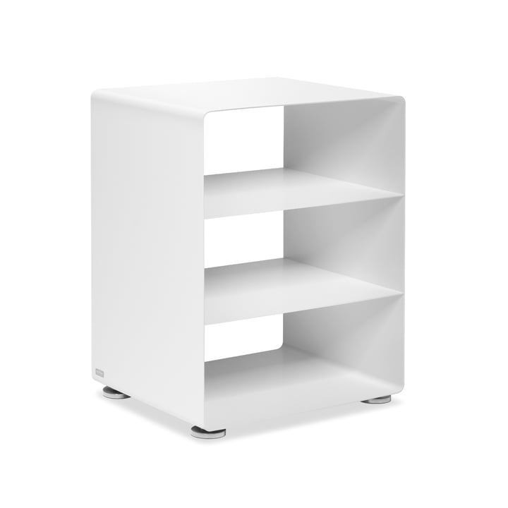 R 600N Hifi-Rack with 2 shelves from Müller Möbelfabrikation in signal white silk matt (RAL 9003)