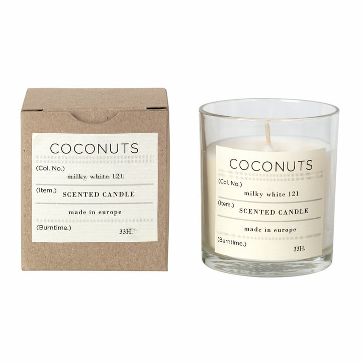 Coconut scented candle, Ø 8 x H 8 cm, white from Broste Copenhagen