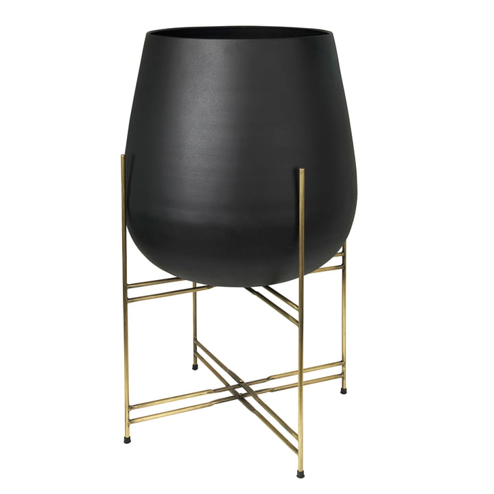 Hege Plant pot with stand, Ø 50 x H 85 cm, brass / black from Broste Copenhagen